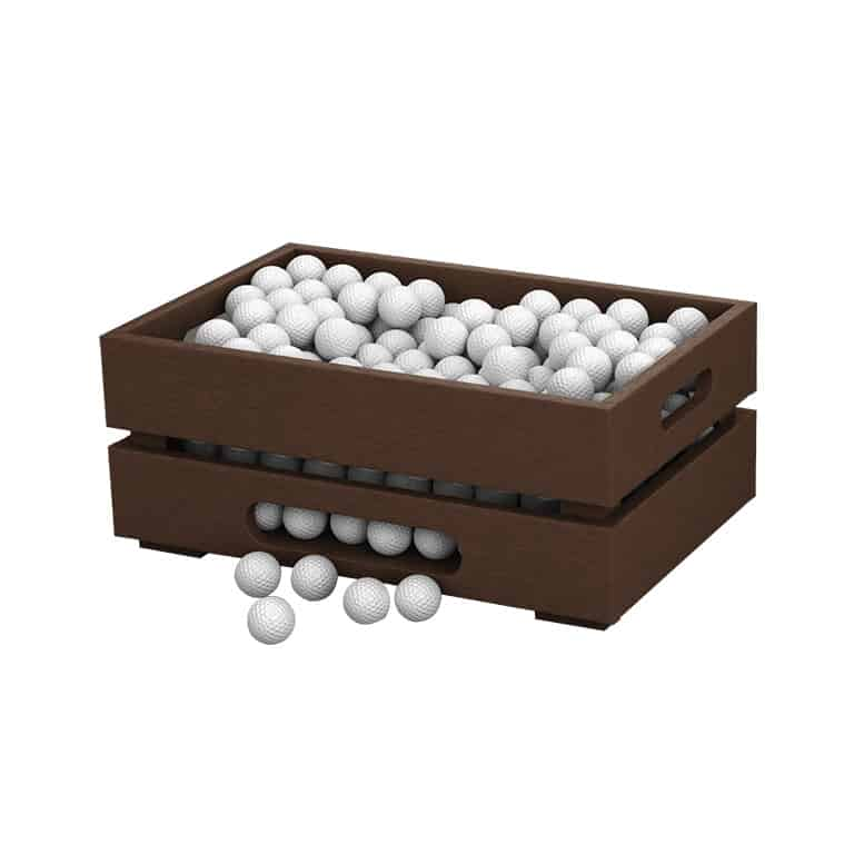 Large Brown Apple Crate filled with golf balls