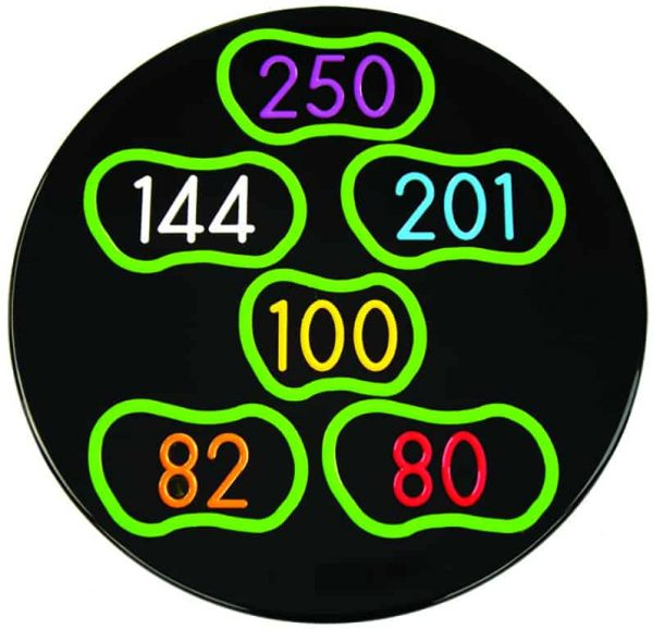 In-ground yardage marker with 6 greens