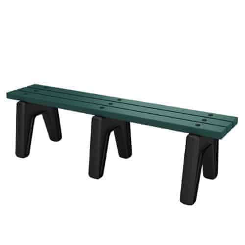 5 Foot Green Backless Bench