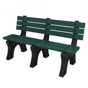 5 Foot Green High Back Bench