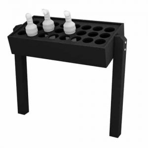 Black Divot Bottle Rack with Posts, Holds 24 Bottles