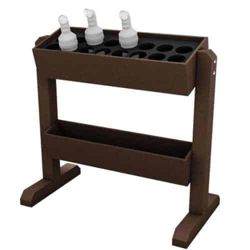 Brown Portable Divot Bottle Rack with Feet, Holds 16 Bottles