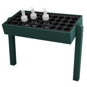 Green Divot Bottle Rack with Posts, Holds 40 Bottles