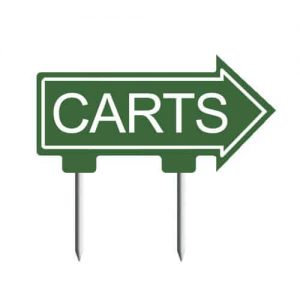 Small arrow shaped cart sign, customize text