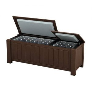 Large Brown Ice Chest Cooler Enclosure Box with Short Legs