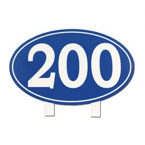 Blue Oval Yardage Sign 200 yards