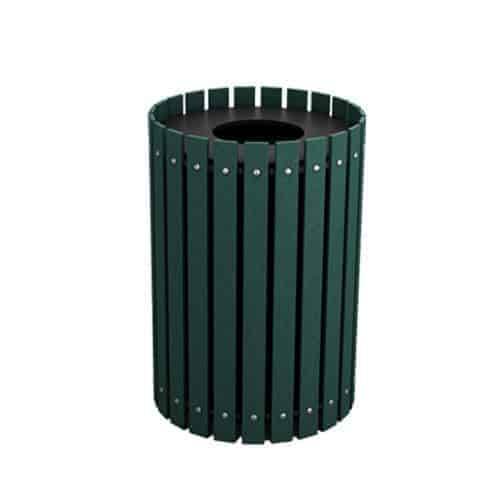 Green 20 Gallon Round Slatted Trash Can Enclosure for Golf Course