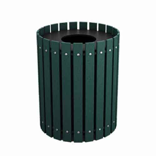 Green 32 Gallon Round Slatted Trash Can Enclosure for Golf Course