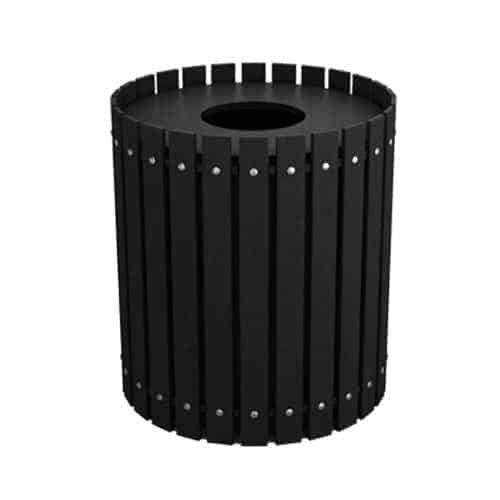 Black 40 Gallon Round Slatted Trash Can Enclosure for Golf Course