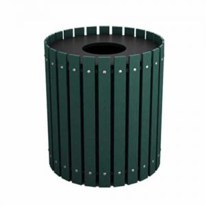 Green 40 Gallon Round Slatted Trash Can Enclosure for Golf Course