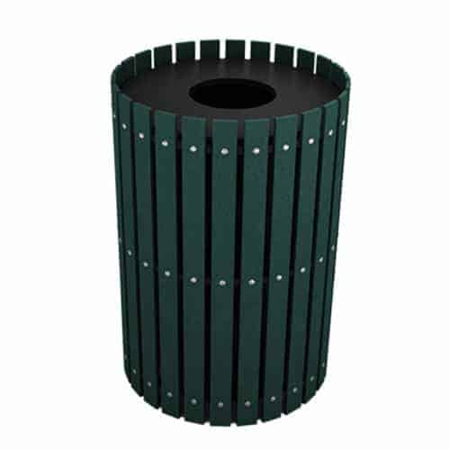 Green 55 Gallon Round Slatted Trash Can Enclosure for Golf Course
