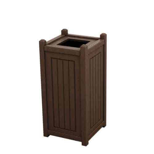 Brown 10 Gallon Square Trash Can Enclosure for Golf Course