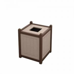 Tan and Brown 13 Gallon Square Trash Can Enclosure for Golf Course