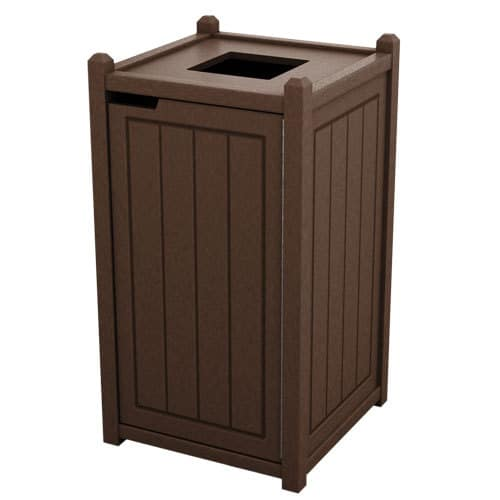 Brown 32 Gallon Square Trash Can Enclosure for Golf Course