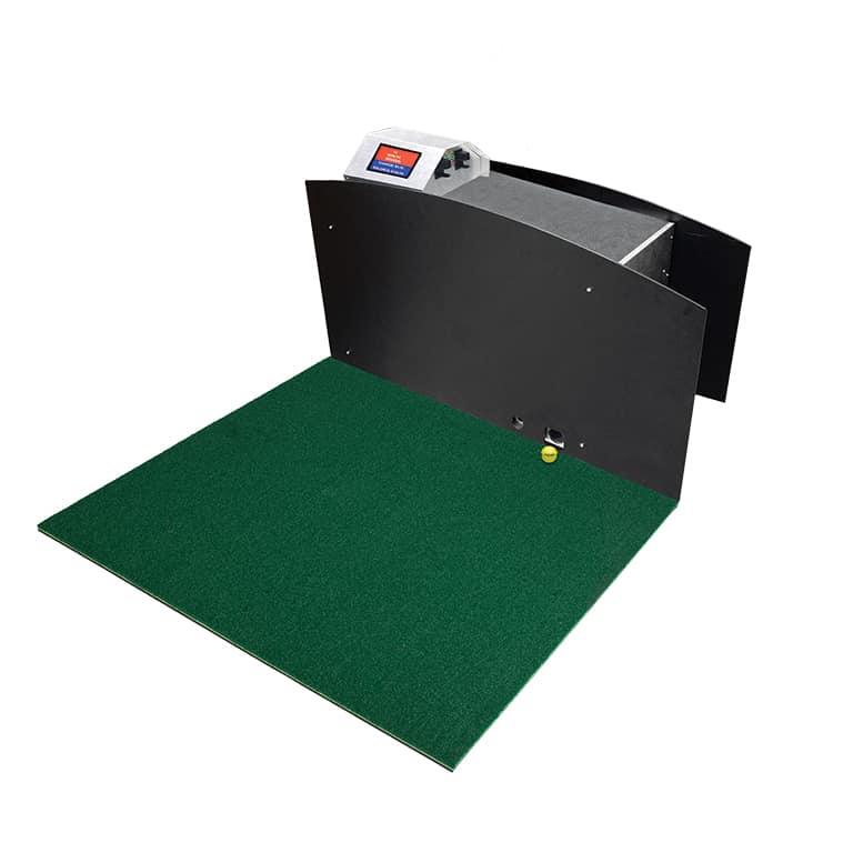 Interactive bay dispenser that allows customer to purchase balls at range mat